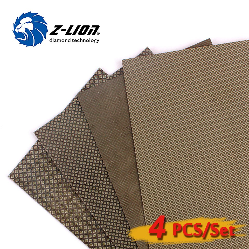 Z-LION Diamond Electroplated Polishing Sheet 120*180mm Cloth Back for Grinding of Stone Glass and Ceramic Hand polishing<br>