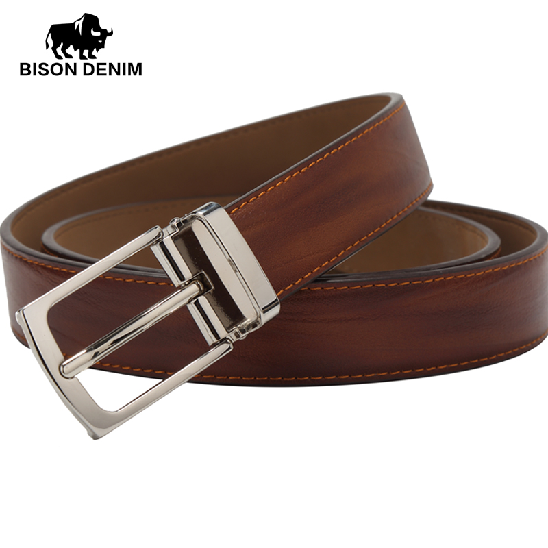 BISON DENIM New arrival genuine Leather Belts pin...