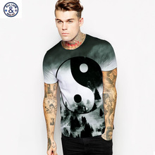 EBAY Joker China Element Tai Chi 3D Printing Round Neck Black And White Hit Color Whole Body Printing Street T Pity Male