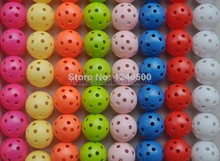 Free Shipping Brand New 70pcs/bag 7 Colors Air Flow Golf Ball Practice Plastic Perforated Golf balls golf toys(China)