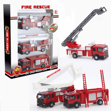 3PCS High Quality Alloy Plastic Model Toy Aerial Rescue Fire Truck Taxied Kids Educational Cheap dinky Toys Christmas Gift jouet
