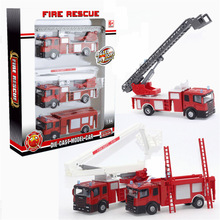 3PCS High Quality Alloy Plastic Model Toy Aerial Rescue Fire Truck Taxied Kids Educational Cheap dinky Toys Christmas Gift jouet(China)