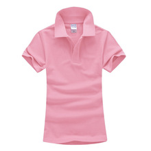 Woman's Custom embroidery pattern cotton female lapel Polo shirt Lapel short sleeves