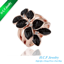 2016 New Hot Selling Best Christmas Gifts Lady's Female Love Special Offer Beautiful Black Rose Eight Petals Camellia ring