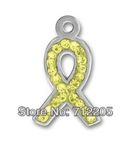 10pcs a lot silver plated pewter yellow Austrian crystal ribbon charms (H105953)(China)