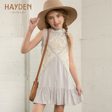 HAYDEN vintage lace flower girls dresses summer costume for teens girl children clothing kids clothes girls party frocks designs(China)