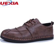 UEXIA 2018 Leather Shoes Men Footwear Non-slip Fashion Men's Casual Shoes Male High Quality Loafers Sneakers Hand-sewn Flat Heel(China)