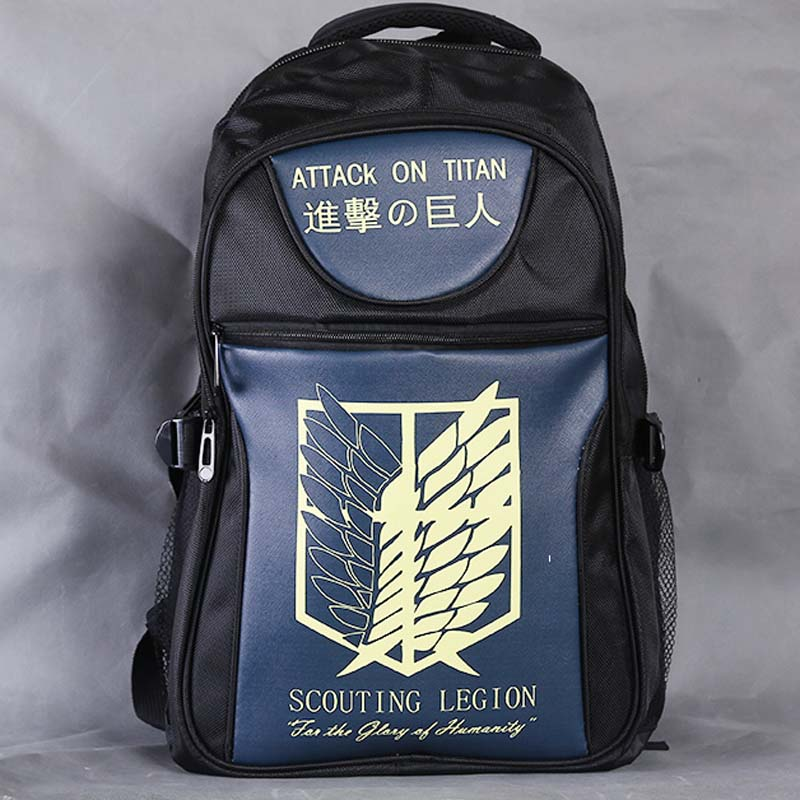 Attack On Titan Scouting Legion Laptop Black Backpack/Double-Shoulder/School/Travel Bag for Teenagers or Animation Enthusiasts<br>