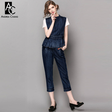 spring summer runway designer womans clothing set white t-shirt dark blue denim vest jeans three piece set cotton blends suit(China)