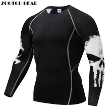 Punisher Compression Shirt Men Breathable Quick Dry T Shirt Bodybuilding Top Crossfit Tee Fitness Weight lifting Base Layer(China)