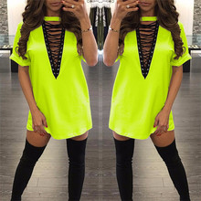 Neon green Women's summer fashion sexy deep v neck choker Outfits dress for women lady loose bodycon dresses vestidos 32