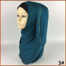 2017 New Beautiful Stones Polyester Islamic Jersey Colorful Rhinestone Hijab Arabic Niqab Scarf Scarves Turban Hijab can70(China)