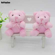 10Pcs/Lot Kawaii Small Joint Teddy Bears Stuffed Plush With Chain Sit Height 10CM Teddy-Bear Mini Bear Ted Plush Toys Gifts 0141