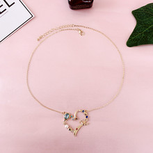 Free shipping fashion ladies jewelry artificial  mosaic heart pendant short necklace sweet girl 2017 popular accessories