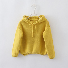 Winter-clothing Girls sweater Girls outerwear Kids sweaters warmed hooded knit pullover Baby girl clothes asymmetric hem Tops