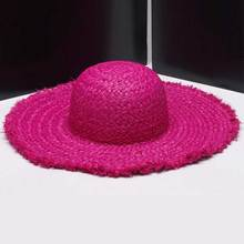 Wholesale 6pcs Women Nature Wide Brim Raffia Straw Hats Blank Large Beach Summer Sun Hat for Ladies Womens Big Brim Straw Caps(China)