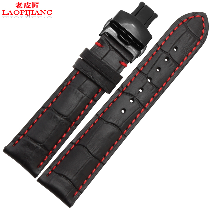 Laopijiang18mm 19mm 20mm 21mm 22mm 24mm New Black Genuine Leather Watchband Watch Band Strap Bracelet With Red thread<br><br>Aliexpress