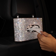 Buy LUNASBORE Luxury Full Crystal Car Tissue Paper Box Diamond Leather Car Tissue Boxes Case Holder Car Styling Home Office for $43.79 in AliExpress store