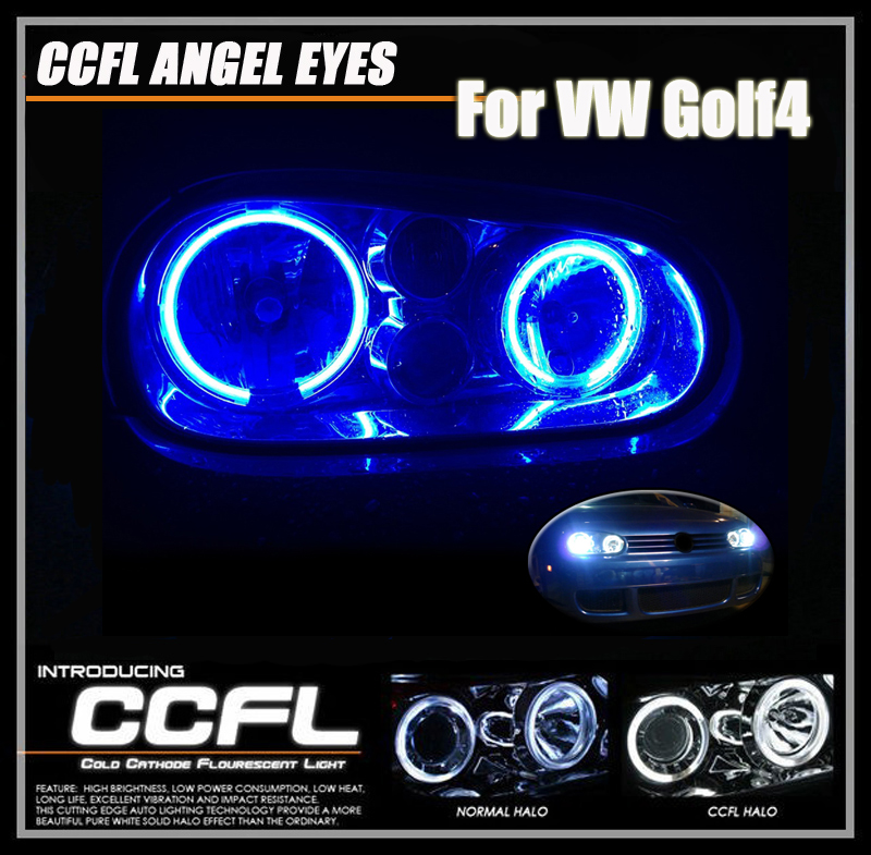 One Set CCFL Angel Eyes For VW Golf4 MK4 2*90+2*125mm CCFL Head Lamp For Golf4 Auto Car Lighting CCFL Halo Rings Kits For Golf<br>