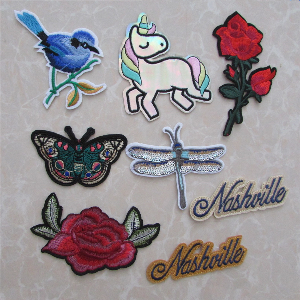 Cute Birds flying with Rose Flower Iron or Sew on Embroidered Patch UK Seller