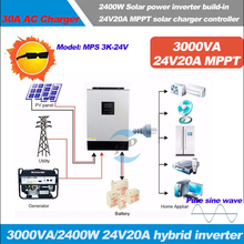 3KVA Solar Hybrid inverter 2400W 24Vdc to 230Vac,50/60HZ with 24V20A MPPT Solar Charger and 30A AC charger with pure sine wave
