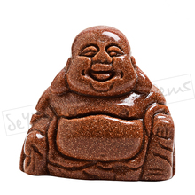 1.5 inch carved Gold Sandstone crystal stone Maitreya Happy Laughing Buddha figurine Home Decor Carving Sculpture(China)