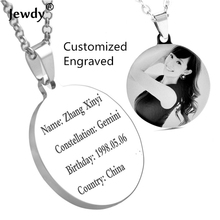Jewdy DIY customized letter photo printed Engraved round shape Dog Tags for Men personalized Pendant Necklace Fine Jewelry(China)