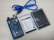 "Free shipping! 3.2"" TFT LCD Touch + TFT 3.2 inch Shield + Mega 2560 R3 with usb cable for Arduino kit"