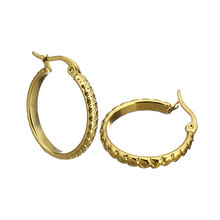 New Fashion Brand Jewelry Stainless Steel Clay Hoop Earrings Gold color Round boucles d oreilles femmes Gift Bijoux(China)