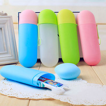 Buy Portable Toothbrush Storage Box Protective Toothpaste Cover Kit Camping Travel Women Makeup Brush Storage Case Random Color for $1.34 in AliExpress store