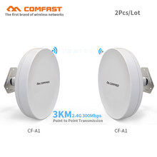 2pcs 1-3KM Long Range Outdoor CPE 300Mbps Wireless Access Point bridge CF-A1 wifi Repeater& extender amplifier elevator monitor(China)