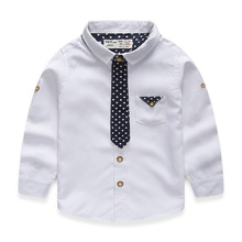 2-7 Years Kids Boys Shirt Long Sleeve Turn Down Collar Cotton Oxford Baby Boys Dress Shirt 2015 New Autumn Children Clothing