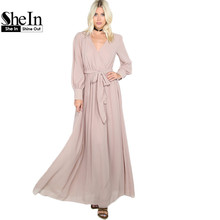 SheIn Ladies Maxi Dresses Long Khaki Flowy Gathered Maxi Dress 2017 Casual Women's Long Sleeve V Neck Line Dress