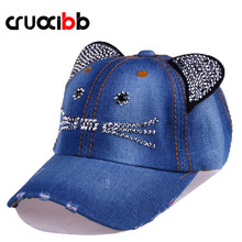 CRUOXIBB Unisex Baseball Cap Denim Kids Cat Ears Pokemon Sun Cowboy Hat Snapback Cap for Boy Girls Casquette Casual Bone Gorro