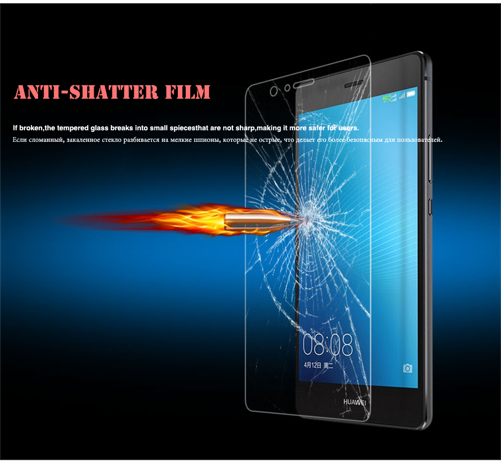 100% Real Tempered Glass For Huawei P6 P7 P8 P9 lite Honor 4X 5C 5A 6 6X 7 8 Screen Protector Scratch Proof Protective Film HD (10)