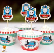 24pcs Kids birthday Party Decoration Cupcake Wrappers Favors Thomas the Tank Engine Cupcake Toppers Picks AW-0016(China)