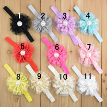 "15pcs/lot 3.5"" Vintage Lace Hair Flower Cute Rose Flower For Girls Dresses Wedding Decoration Boutique Flower Headbands For Girl"