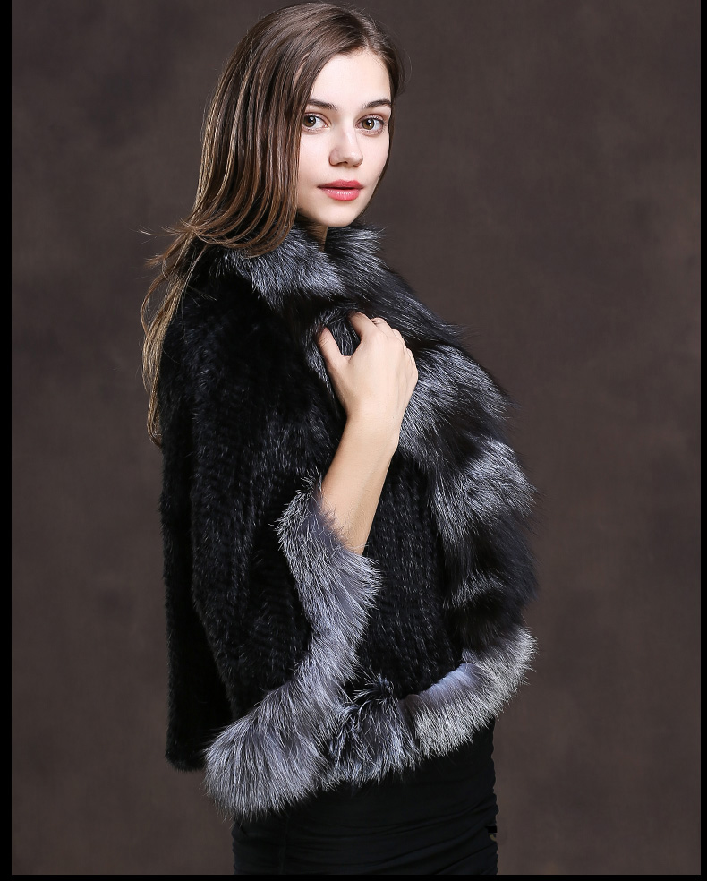 Winter Shawl Wrap Poncho Real Knit Mink Fur shawl With Fox Trimming Real fur Jacket coats party 2017 new (15)