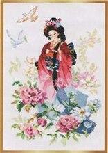 Рукоделие, DIY вышивки крестом, Наборы для ухода за кожей для Вышивка комплекты, 14ct и 16ct и 18ct, цветы в дамы(China)