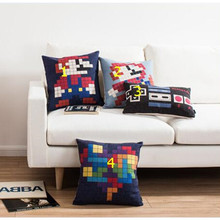 Wholesale Mario cartoon game Decorative Throw Pillows pixel art Pillow Covers cute creative Seat Pillow