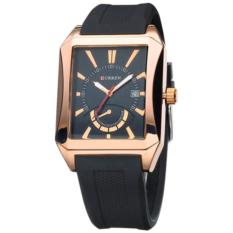 New Curren Famous Brand Rubber Fashion Quartz Men Casual Watch Calendar Date Work 30M Waterproof Wristwatch Luxury Brand watches<br><br>Aliexpress