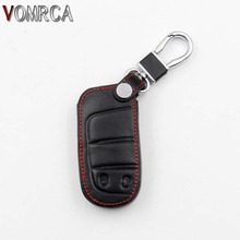 High Quality Leather Car Key Cover For JEEP Grand Cherokee Dodge JCUV Darts Game Chrysler 300C Fiat 2 Button Smart Key