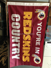 Washington Redskins Country logo Flag 150X90CM Banner 100D Polyester3x5 FT flag brass grommets 001, free shipping(China)