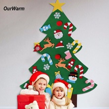 Ourwarm Christmas Gifts for 2018 Kids DIY Felt Christmas Tree with Ornaments New Year Decoration Door Wall Hanging Decoration(China)