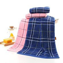 60*31 cm plaid dark blue and pink towels M size bathroom towel hand face towel thick designer towels Bulk Embroidered