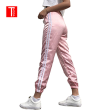 T MODA 2017 Spring Summer Women Satin Casual Pink Retro White Stitching Closed Comfy Wweatpants Leisure Trousers Pants Capris(China)