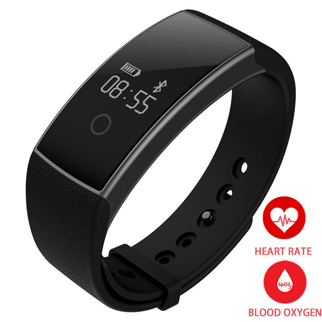 HEINO A09 New for iOS Android Smart Wrist Band Heart Rate Monitor Blood Oxygen Oximeter Sport Bracelet Alarm Clock Black Remote<br>