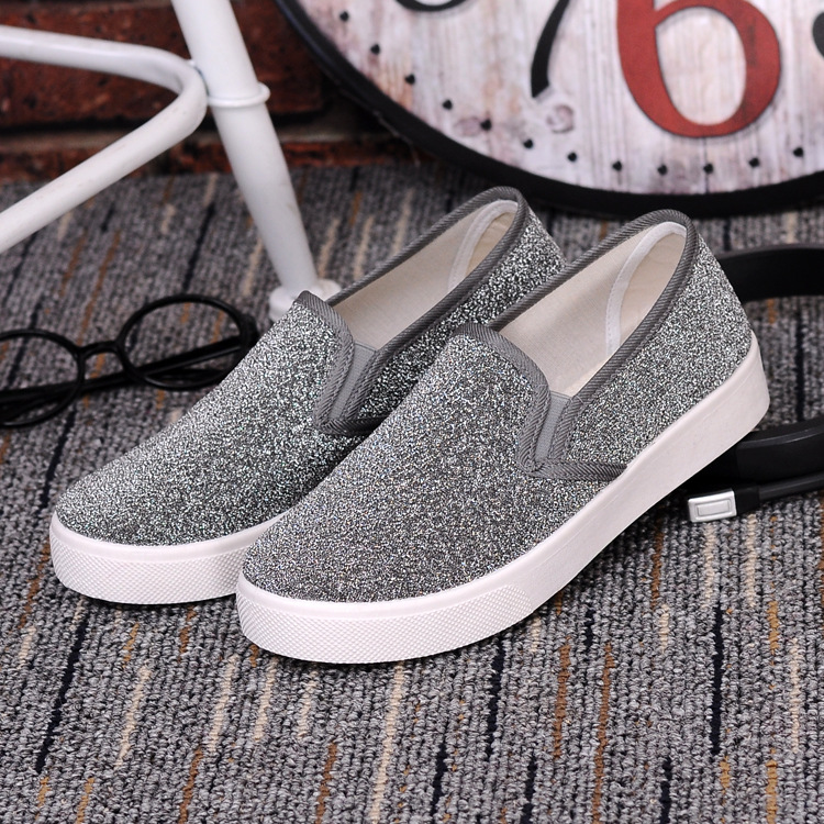 sequins shoes women loafers 2017 fashion platform shoes women flats ladies slip on shoes casual glitter shoes flat zapatos mujer<br><br>Aliexpress