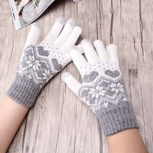 Stretch Snow Knitted Gloves For Women Men Heart Snowflake Mittens Use Smartphone Screen Gloves Wool-Knit Warmer Chirstmas Luvas(China)