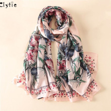 CLYTIE New Women Fashion Silk Scarf For Beach Plus Size Shawls and Wraps Floral Printing Luxurious Warm Scarves SC3220(China)
